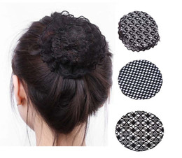 Wholesale Wholesale Hair Nets For Buns - DIY Hairdressing Decoration Ballet Hair Net Bun Cover Snood For Ladies BLACK Kids Girls Solid Color Satin Hair Clip Hair Accessories