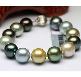 Wholesale Tahitian Pearl Strands - 9-10mm genuine tahitian south seas black gold gray multicolor pearl bracelet 7.5-8 inch 925 silver