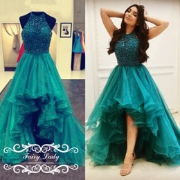 Wholesale Sparkle Halter Prom Dress - 2018 Peacock Green Tiered High Low Prom Dresses Sparkling Sequins Beading Ruffles A Line Sheer Halter Organza Pageant Dress Party Gowns