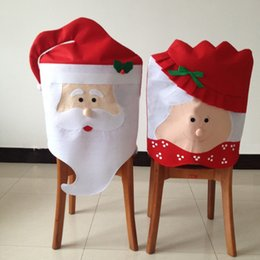 Wholesale Dining Rooms Chairs - 1PC Lovely Mr & Mrs Santa Claus Christmas Dining Room Chair Cover Seat Back Cover Coat Home Party Decor Xmas Table Accessory