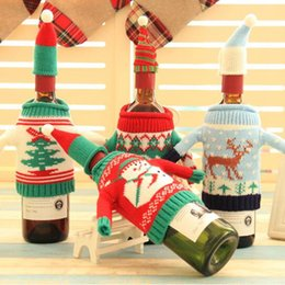 Wholesale Wine Bottle Wrapped - Christmas Wine Bottle Cover Bags Mini Champagne Sweater Santa Claus Champagne Bottle Gift Wraps Party Decorations Xmas Party Supplies YW230