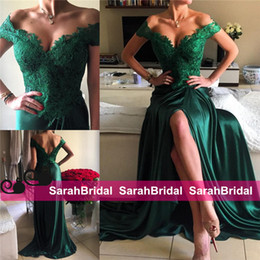 Wholesale Pictures Pretty Black Women - Sexy Emerald Green Split Prom Dresses 2016 Pretty Satin with Lace Off the Shoulder Sheath Sweep Train Zipper Formal Evening Women Wear Gowns