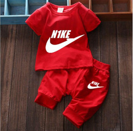 Wholesale Girl Clothes Set Years - Free shipping New 2016 summer clothing sets kids pants + Top boys girls brand kids clothes children tracksuits 1-6 years old