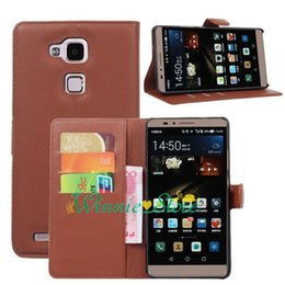 Wholesale Huawei Ascend Mate Phone Cases - For Huawei Ascend Mate 7 PU Leather Case Luxury Lychee Pattern Magnetic Flip Wallet Card Holder Phone Cover Bags Skin
