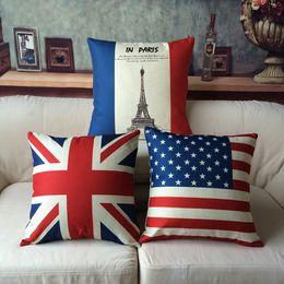 Wholesale office linens - 45cm America England Flag Cotton Linen Fabric Throw Pillow 18 Inch Fashion Gift New Home Decor Sofa Car Office Nap Back Cushion