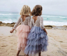 Wholesale Wholesale Lace Maxi Dresses - INS Girls Princess Party Dresses baby full Lace Flower Tiered Tulle Maxi Dress Long Sleeve For Wedding Party Children Clothes 1-7years free