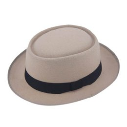 accessories felt Coupons - Wholesale-Vintage Hard Felt Wool Pork Pie Hat Flat Top Rocker Fedora Cap