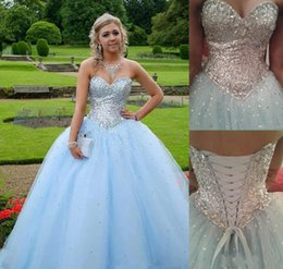 Wholesale Girls Party Dresses Year 12 - 2017 New Arrival Quinceanera Dresses Sweetheart For 15 Year Girls Ball Gowns Bling Bling Top Sequins Girls Prom Party Gowns Custom Made
