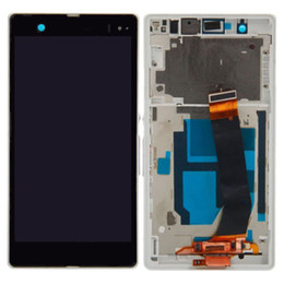Wholesale Xperia Z Lcd - For Sony Xperia Z LT36i L36H C6603 LCD Touch Screen Digitizer +Frame Black