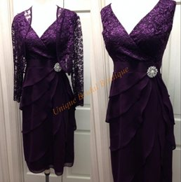 Wholesale Purple Lace Jackets - 2016 Mother's Formal Wear Dresses with Lace Jacket and Deep V Neck Real Photos Tiered Chiffon Knee Length Mother's Wedding Gowns Purple