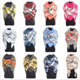 Wholesale Wholesale Wraps Scarves - Plaid Scarves Check Pashmina Grid Striped Shawl Tartan Tassel Scarf Cozy Fashion Wraps Oversized Cashmere Lattice Neckchief Blankets B2974