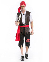 Wholesale Caribbean Performance Costumes - Party performances Skull male pirates suit Halloween game male clothing cosplay pirates of the Caribbean pirate clothing