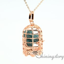 Wholesale White Bird Cages - bird cage openwork essential oil jewelry essential oil necklace wholesale jewelry lockets aroma jewelry metal volcanic stone necklaces penda