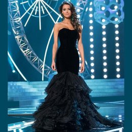 Wholesale Long Dresses For Dinner - Hot Sale Fashion Black Long Evening Dresses 2016 Mermaid Sweetheart Women Pageant Dinner Gown For Formal Prom Party Dresses Free Shipping