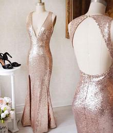 Wholesale Bridesmaids Designer Dresses - Rose Gold Sequined 2018 Bridesmaid Dresses Cheap Long With Slit Deep V neck Open Back Designer New Evening Prom Dresses