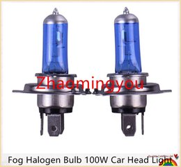 Wholesale Super Bright H4 Bulbs - 10pcs H4 Super Bright White Fog Halogen Bulb 100W Car Head Light Lamp h4 100W car styling car light source parking