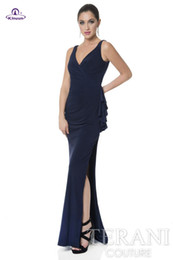 Wholesale Evening Thin Dresses - Romantic afford sexy deep v neck high side split backless pleats long thin chiffon sheath navy evening dresses formal dress fast shipping