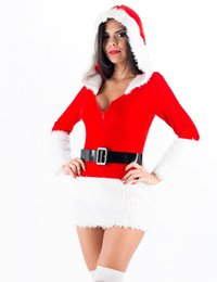 Wholesale Lady Santa Outfits - High Quality Ladies White Black Plush Belt Xmas Costume Sexy Mrs Miss Hooded Christmas Santa Fancy Dress Costume Outfit W208522