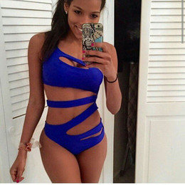 Wholesale Black Bikini Woman - 2016 sexy One Piece Suit Women hollow out Solid swimsuit Blue Black White Beach Bathing High Cut One Shoulder Bandage Swimwear