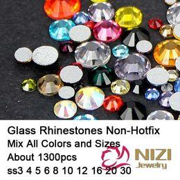 Wholesale Hotfix Strass - Wholesale- All Sizes ss3-ss30 Mixed 25 Normal Color 1300pcs Nail Art Crystal Rhinestones Flatback Non-Hotfix Strass Diamonds DIY Decoration