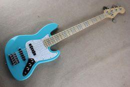 Wholesale Blue Light Jazz - Free shipping Factory Custom new light blue jazz 5 String bass Maple fingerboard music bass