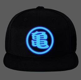 Wholesale Dragon Caps - High quality Dragon ball Z Goku Hat Master Roshi Hat Unisex Luminous Adjustable Snapback Baseball Cap Black Cotton