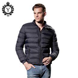 Wholesale Western Coats Plus Size - Fall-2016 Fashion Suitable Windrbeaker Solid Lightweight Winter Jacket Men Nylon Navy Zipper Western Puffer Down Coat Plus Size 8853