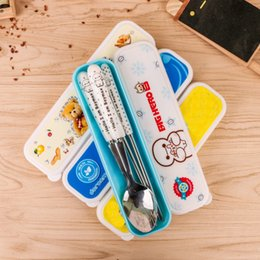 Wholesale Spoon Chopsticks Ceramic - Cartoon Stainless steel Outdoor Travel Dinnerware Sets Totoro tableware chopstick spoon fork with Ceramic Handle Cutlery DHL Shipping Free