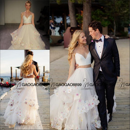 Wholesale Simple Drop Back Wedding Dress - Hayley Paige 2016 New Two Pieces Handmade 3D Floral Beach Wedding Dresses So Cute Colorful Flower Elegant Country Wedding Gowns