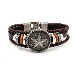 Wholesale Ceramic Bracelets For Men - Antique five - pointed star Rivets Weave Leather Bracelets for Men Punk Wrist Fashion Jewelery Charm Bracelet 2 Colors