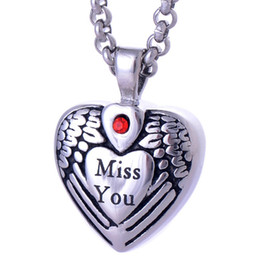 "Wholesale Miss Pendant - Vintage Titanium ""Miss You"" Heart Pendants Urn Necklace Cremation Ashes Pendant Keepsake Jewelry Openable put in Perfume or Love Notes"