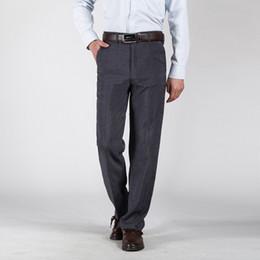 Wholesale Grey Dress Suits - Wholesale-2016 New Fashion Spring Summer Men Casual Business Suit Pants Cotton Easy Care Solid Long Dress Pants Trousers 13M0536