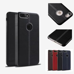 Wholesale Stitch Phone Cases - Luxury PU Leather Stitching Soft Case With Metal Ring Cover TPU Cell Phone Cases For iphone 8 7 6 6S plus