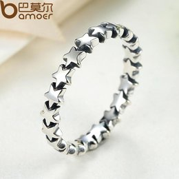 Wholesale Trail Wedding - 100% 925 Sterling Silver Pandora Style Finger Ring Star Trail Stackable Wedding Ring for Women Jewelry