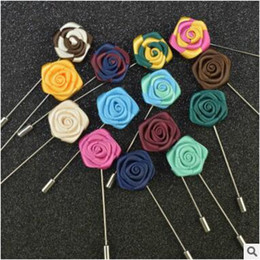 Wholesale Cheap Corsages - Wholesale Double Rose Mens Brooches Pins Corsage 2016 Cheap In Stock Lapel Safety Pins Wedding Party Evening Gift Men's Suit Decoration