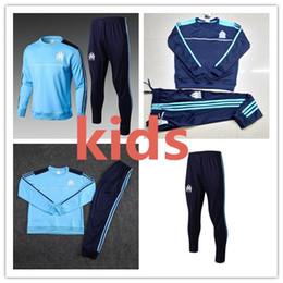 Wholesale Jogging Suits Winter - top thai quality 17 18 Marseille kids soccer jacket suit 2018 SAKAI CLINTON THAUVIN PAYET training suit sweatshirts child tracksuits jogging