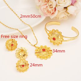 yellow stone jewelry sets Promo Codes - New Ethiopia Bride 14 k Yellow Solid Fine Gold Filled Jewelry Sets Full With Stone African Ethnic Gifts Eritrean Habesha Wedding