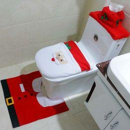 feliz natal Desconto 2016 Feliz Natal Decoração Santa Tampa de Assento Do Toalete Do Banheiro Tapete 3 Peças Set Melhores Presentes de Natal Decorações Felizes