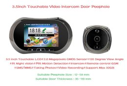 "Wholesale Digital Peephole Viewers - 3.5"" Touchable Screen Digital Video IR Door Viewer Smart Peephole Visual Doorbell Camera Support GSM Intercom PIR Motion Sensor"