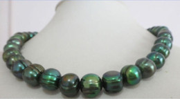 Wholesale baroque tahitian pearl necklace - natural 11-12mm tahitian baroque peacock black pearl necklace 18inch14k
