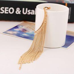 Wholesale Long Range Gold - New Design Fashion Tassel Ear Clip Tidal Range Exaggerated Punk Style Long Tassel Ear Clip Charms Ear Statement Earrings