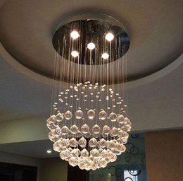 Wholesale Crystal Ship Hanging Light - Cheap New Modern LED Ball K9 Crystal Chandeliers Fashionable Design Lamps Luxury Bulb Lights Hanging Wire Hotel Lighting DHL Free Shipping