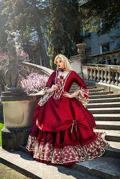 Gótico Do Vintage Medieval Vermelho Vestidos de Noiva com Manga Longa de Volta Corset Arco Fita Drapeado Vitoriano Lace Ball Gown Vestido De Noiva de
