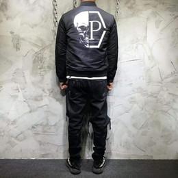 Wholesale Flight Jacket Pockets - Brand 2017 new baseball bomber jacket men fashion hip hop skull coats streetwear Flight Jacket Male clothing