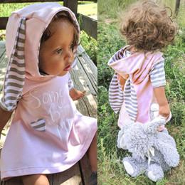 Wholesale Cartoon Onesies - INS Bunny Ear Dresses Baby Girls Short Sleeve Hooded Stripe Printed Letter Cute Dresses Cartoon Onesies
