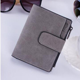 Wholesale Snap Clutches - Lady Letter Snap Fastener Zipper Short Clutch Wallet Solid Vintage Matte Women Wallet Fashion Small Female Purse Purse Masculina