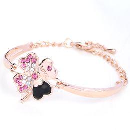 Wholesale Rose Gold Clover Bracelet - Four-Leaf Clover lovers bracelets Charm Bracelet chains for Women Rose Gold Color Clover Love Bracelets & Bangles Pulseiras crystal jewelry