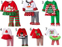 Wholesale Ruffle Sets Girls - 7 Styles New Girls Xmas Sets babies Christmas Deer Printed T shirt + Striped Dot Ruffle Pants 2 pcs Suit Children Holiday Outfit Set