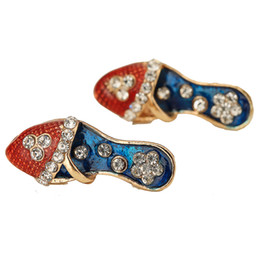 Wholesale Vintage Shoe Plates - Vintage Studs Earrings Lady Shoe Heels Fashion Cute Colorful Austrian Rhinestone Earring Jewelry