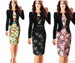 Wholesale Office Wear Fashion For Ladies - 2016 Fashion Work Dresses for Office Lady False Two-Piece Dresses Long Sleeves Knee Length Floral Print Short Women Casual Dresses FS0016